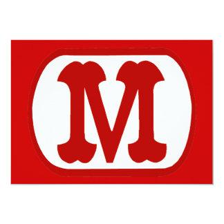 """M In Oval Icon  (Mario) 5"""" X 7"""" Invitation Card"""