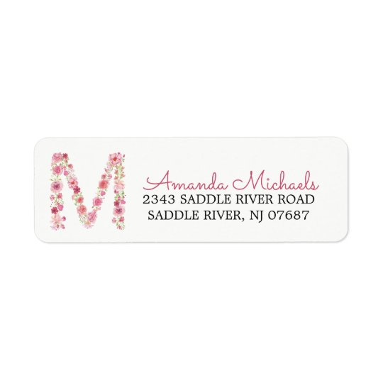 M Initial Floral Monogram  Return Address Label