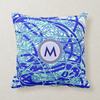 M initial monogram blue abstraction throw pillow