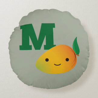 M is for Mango Round Pillow