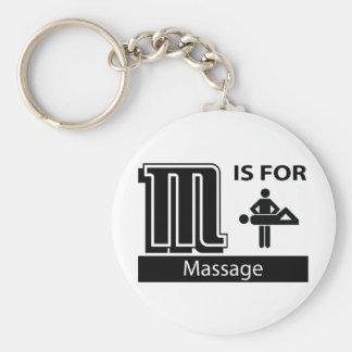 M Is For Massage Basic Round Button Keychain