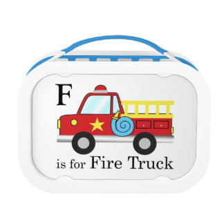 M is for Mateo, F is for Fire Truck Lunch Box
