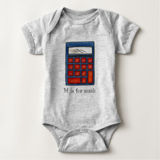 M is for Math School Calculator ABCs Letter M Baby Bodysuit