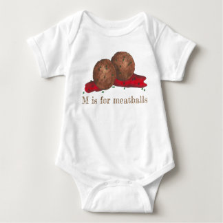 M is for Meatballs Italian Marinara Food Meat Ball Baby Bodysuit