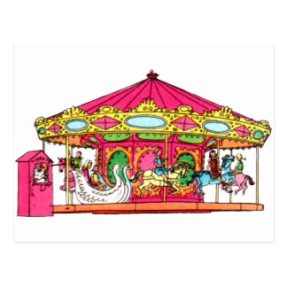 'M' is for Merry Go Round Postcard