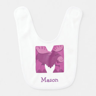M is for Moose Baby Bib