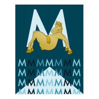 M Letter  Dark blue card Flexible pony bunting. Postcard
