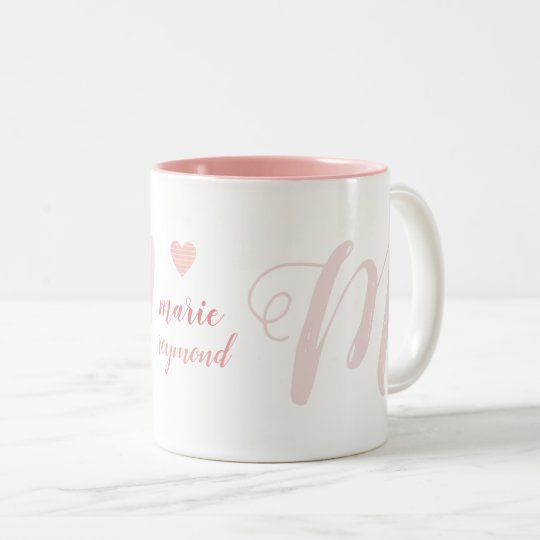 M letter monogram on pink love Two-Tone coffee mug