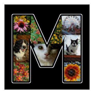 M Monogram Create Your Own 9 Photo Collage Black Poster