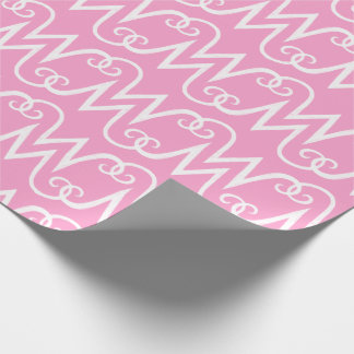 M monogram initials - light pink background wrapping paper