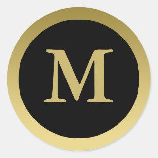 M :: Monogram M Elegant Gold and Black Sticker