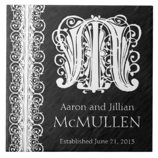 "M Monogram ""White Lace on Black"" Wedding Tile"