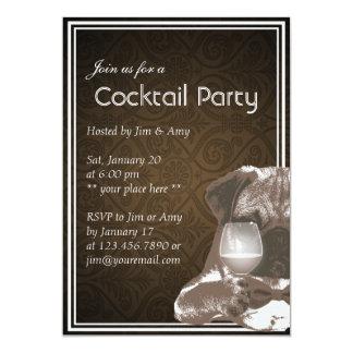 M. Pug et invitations de partie de cocktail de vin