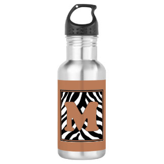 M Zebra Monogrammed Water Bottle