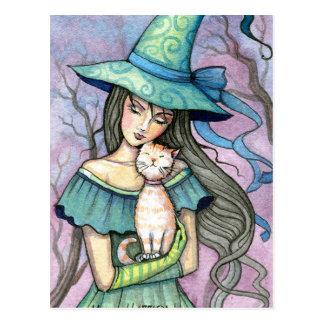 Ma carte postale tigrée douce de chat de sorcière