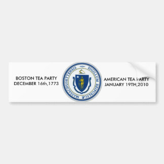 ma flag, AMERICAN TEA PARTYJANUARY 19TH,2010, B... Car Bumper Sticker