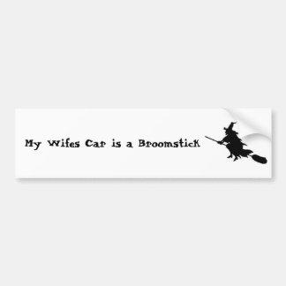 Ma voiture de Wifes est un manche à balai Autocollant De Voiture