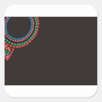Maasai Necklace black background Square Sticker
