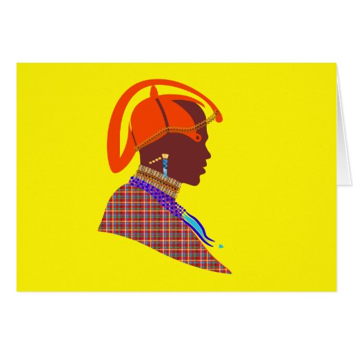 Maasai Warrior Note Card by Rude ink design studio