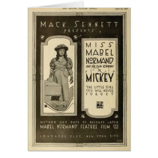 Mabel Normand 1917 Exhibitor Ad silent film Card