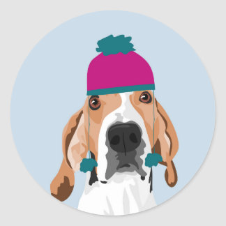 Mabel  Winter hat Classic Round Sticker