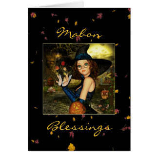 Mabon Blessings Autumn Witch Blank Note Card