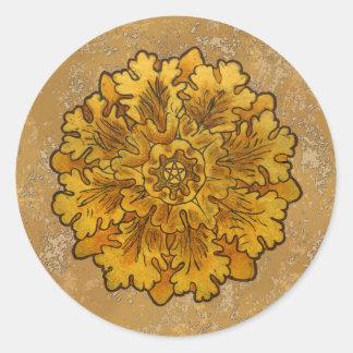Mabon Oak Leaves Classic Round Sticker