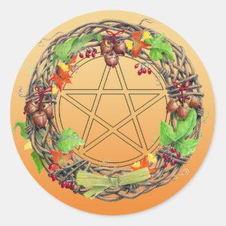 Mabon Wreath Classic Round Sticker
