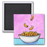 Mac and cheese fun colourful original tiny art square magnet