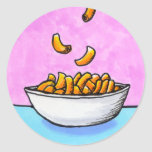 Mac and cheese fun colourful original tiny art round sticker