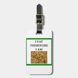 mac and cheese luggage tag