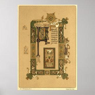 Mac Durnan Gospels  with Celtic illumination Poster
