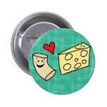 Mac Loves Cheese, Funny Cute Macaroni + Cheese 2 Inch Round Button