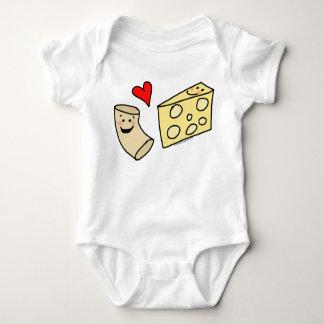 Mac Loves Cheese, Funny Cute Macaroni + Cheese Baby Bodysuit