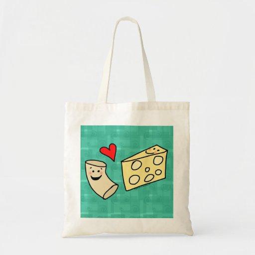 Mac Loves Cheese, Funny Cute Macaroni + Cheese Canvas Bags
