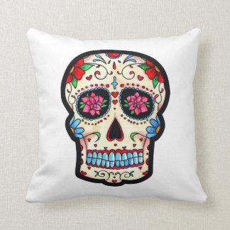 macabra almofada colorful Mexican skull Throw Pillow