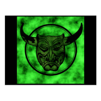 Macabre: Grinning Green Demon Postcard