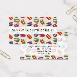 Macaron Cookies, Polka Dots - Blue Green Red Pink Business Card