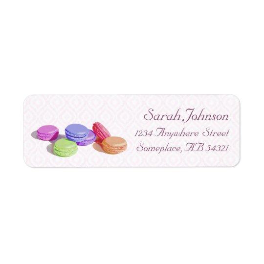 Macaron French Baking Ikat Pink Script Return Address Label