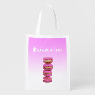 Macaron love pink on a pink backdrop reusable grocery bag
