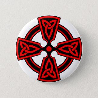Macaron Rond 5 Cm païen saxon rouge de wicca de Viking de croix
