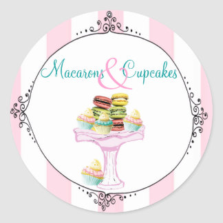 Macarons et autocollants ou joints de petits gâtea