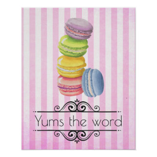 Macarons French Dessert in Pastel Watercolors Poster