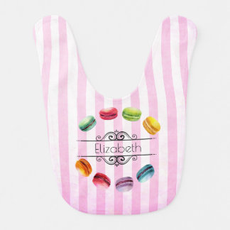 Macarons In A Circle   French Pastry in Watercolor Bib