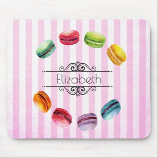 Macarons In A Circle | French Pastry in Watercolor Mouse Pad