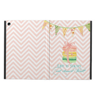 Macarons Life is Short Eat Dessert First Chevron iPad Air Covers