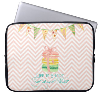 Macarons Life is Short Eat Dessert First Chevron Laptop Sleeve