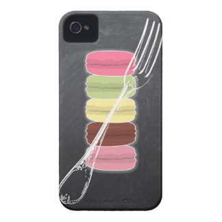MACARONS & stylish FORKS on chalkboard iPhone 4 Case-Mate Case