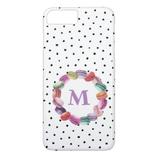 Macarons Wreath Monogram Black White Dots iPhone 8 Plus/7 Plus Case