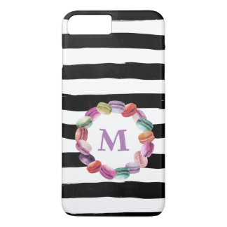 Macarons Wreath Monogram Black White Stripes Case-Mate iPhone Case
